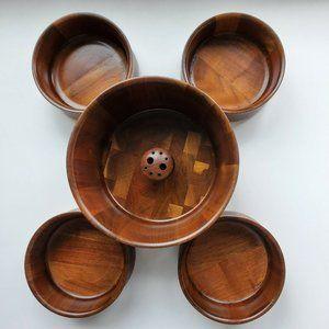 Vintage DID Stave Co Walnut Wood Nut Bowl Serving